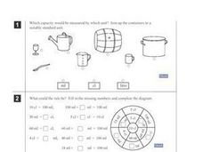 Measuring Liquid: ml, cl, litre Worksheet