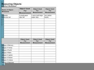 Measuring Objects Activity 2 Worksheet Worksheet