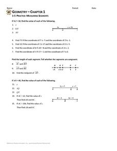Measuring Segments Worksheet