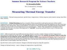 Measuring Thermal Energy Transfer Lesson Plan