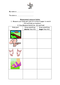 Measuring Things With Our Bodies Worksheet