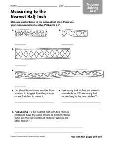 Measuring to the Nearest Half Inch - Problem Solving 13.2 Worksheet