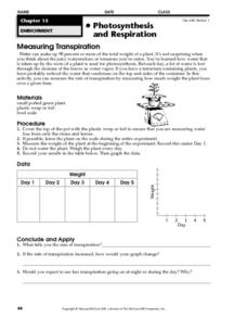 Measuring Transpiration Worksheet