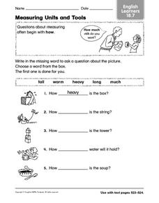 Measuring Units and Tools Worksheet
