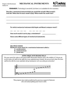 Mechanical Instruments Worksheet