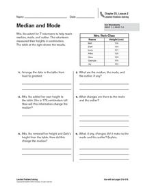 Median and Mode Worksheet