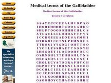 Medical terms of the Gallbladder Worksheet