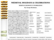 MEDIEVAL HOLIDAYS & CELEBRATIONS Worksheet