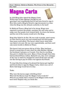 Medieval Realms - The Power of the Monarchy - Magna Carta Worksheet