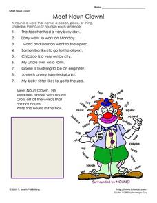 Meet Noun Clown Lesson Plan