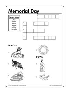 Memorial Day - Picture - Word Crossword Puzzle Worksheet