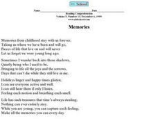 """Memories"" Worksheet"