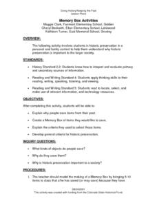 Memory Box Activities Lesson Plan