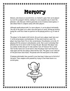 Memory/Concentration Game Instructions Worksheet