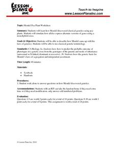 Mendel Pea Plants Worksheet
