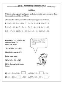 Mental  Addition of 3 Numbers pg. 2 Worksheet
