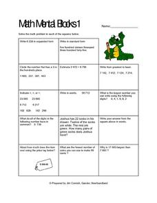 Mental Math Blocks 1 Lesson Plan