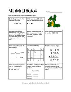 Mental Math Blocks 4 Lesson Plan