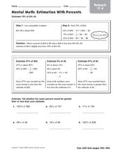 Mental Math: Estimation With Percents Worksheet