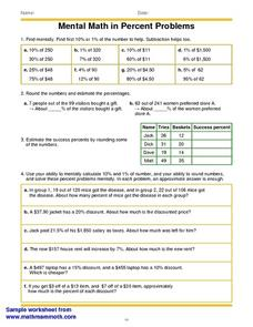 Mental Math in Percent Problems Worksheet