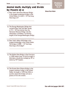 Mental Math: Multiply and Divide by Powers of 10: Problem Solving Worksheet