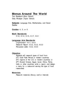 Menus Around The World Lesson Plan