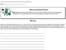 Mercury Editing Practice Worksheet