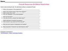 Metal Reactivities Worksheet