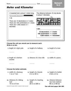 Meter and Kilometer  reteach 14.2 Worksheet