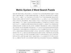Metric System 2 Word Search Worksheet