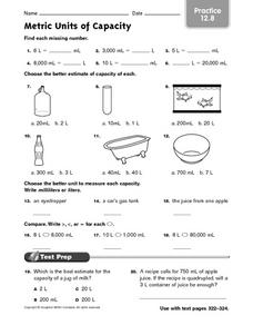 Metric Units of Capacity - Practice 12.8 Worksheet