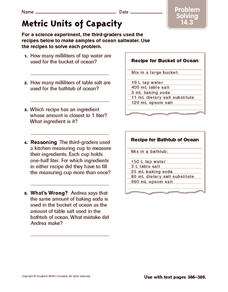 Metric Units of Capacity: Problems Solving Worksheet