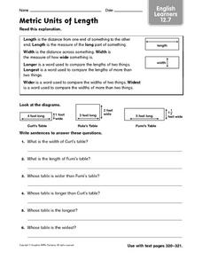 Metric Units of Length - ELL 12.7 Worksheet