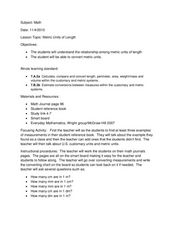 Metric Units Of Length Lesson Plan