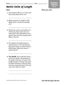 Metric Units of Length - Problem Solving 12.7 Worksheet
