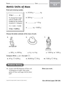 Metric Units of Mass: Homework Worksheet