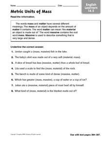 Metric Units of Mass: Mass and Matter Worksheet