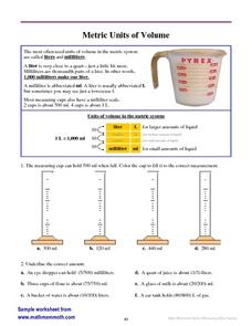 Metric Units of Volume Worksheet