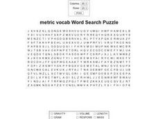 Metric Vocab Word Search Worksheet