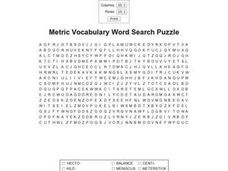 Metric Vocabulary Word Search Worksheet