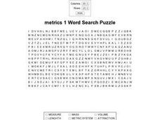 Metrics 1 Word Search Worksheet
