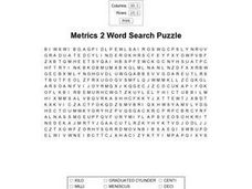 Metrics 2 Word Search Puzzle Worksheet