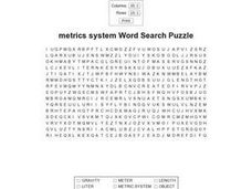 Metrics System Word Search Worksheet