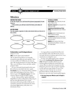 Mexico- Reading Study Guide Worksheet