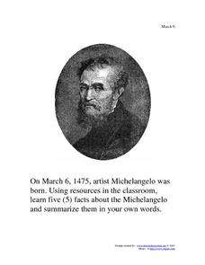Michelangelo: March 6, 1475 Worksheet