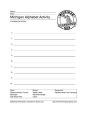 Michigan Alphabet Activity Worksheet