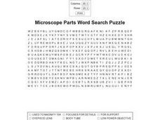 Microscope Parts Word Search Puzzle Worksheet