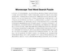 Microscope Test Word Search Worksheet