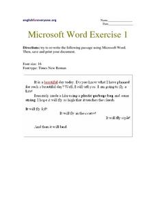 Microsoft Word Exercise 1 Worksheet