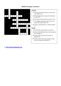 Middle Passage Crossword Worksheet